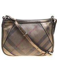 Burberry Bronze Leather And Nova Check Pvc Crossbody Bag - Metallic
