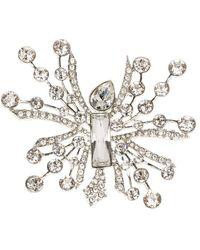 Oscar de la Renta Abstract Crystal Silver Tone Brooch - Metallic