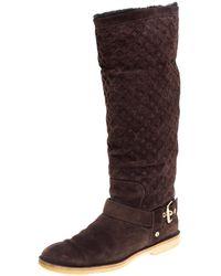Louis Vuitton Brown Monogram Suede Fauvist Knee Boots