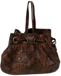 Dior Brown Cannage Quilted Python Limited Edition Drawstring Tote