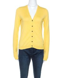 Burberry Brit Yellow Knit Button Front Cardigan
