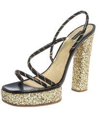 Marc Jacobs Black/gold Leather And Glitter Fabric Slingback Platform Sandals