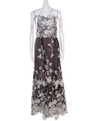 Marchesa notte Notte By Marches Black Floral Embroidered Tulle Sequined Strapless Gown