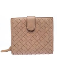 Bottega Veneta Beige Intrecciato Leather French Flap Wallet - Natural