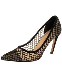 Dior Christian Black Suede And Mesh Pointed Toe Court Shoes