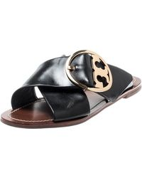Tory Burch Black Leather Thame Logo Detail Criss Cross Sandals Size 39