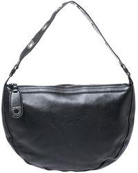 Ferragamo Black Leather Gancini Hobo