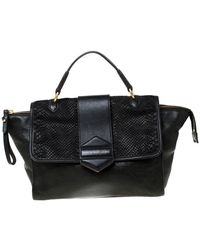 Marc By Marc Jacobs Black Embossed Leather Satchel