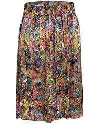 Dries Van Noten Multicolor Printed Silk Pleat Detail Skirt