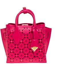 MCM Mini Milla Perforated Leather Tote - Pink