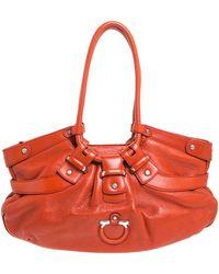 Ferragamo Orange Leather Gancini Lucchetto Hobo
