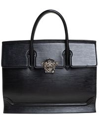 Versace Black Textured Leather Palazzo Empire Tote