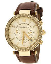Michael Kors - Gold Tone Parker Chronograph Mk2249 Women's Wristwatch 39 Mm - Lyst