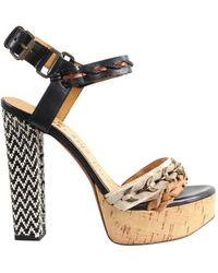Lanvin Black/brown Chunky Leather Sandals Size 36 - Multicolour