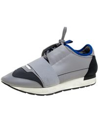 Balenciaga Gray Mesh And Leather Race Runner Low Top Sneakers