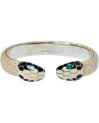 BVLGARI Serpenti Forever Metallic Gold Karung Leather Open Cuff Bracelet