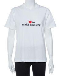 Vetements White I Make Boys Cry Printed Cotton Crewneck T Shirt
