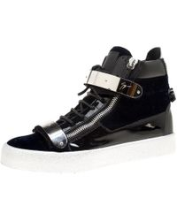 43a2077b Navy Blue Velvet And Black Leather Coby High Top Sneakers Size 43