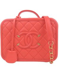 Chanel Red Caviar Leather Cc Filigree Vanity Case
