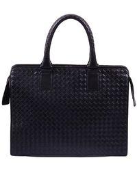 Bottega Veneta Black Intreciato Leather Briefcase