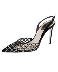 Rene Caovilla Black Suede Peonia Slingback Sandals