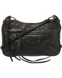 Balenciaga Black Leather Motocross Classic Hip Crossbody Bag