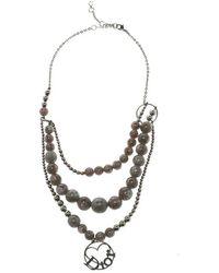Dior - Bead Silver Tone Multichain Necklace - Lyst