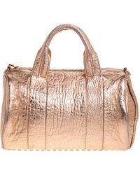 Alexander Wang Metallic Rose Gold Textured Leather Rockie Duffel Bag