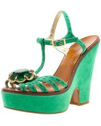 Marc Jacobs Green Suede Crystal Flower Embellished Ankle Strap Platform Sandals Size 36