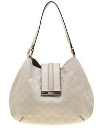 44bb0983c9d Gucci - Off White Ssima Leather Small New Ladies Vintage Web Hobo - Lyst