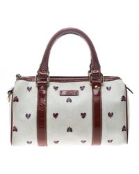 Gucci - Off /red Coated Canvas And Patent Leather Joy Heart Boston Bag - Lyst