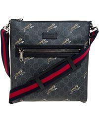 Gucci Black Tiger Print GG Supreme Messenger Bag