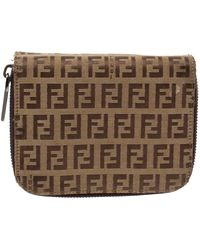 Fendi Beige/brown Zucchino Canvas And Leather Compact Wallet - Natural