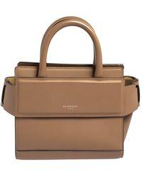 Givenchy Beige Leather Nano Horizon Crossbody Bag - Natural