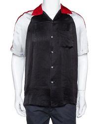 Gucci Black Satin Contrast Logo Panel Bowling Shirt