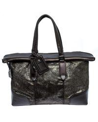 Tumi Black/silver Calf Hair And Leather Stamford Weekender Bag - Brown