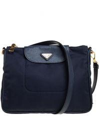 Prada Navy Blue Tessuto Nylon And Leather Crossbody Bag