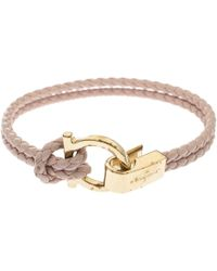 Ferragamo Gancin Pink Braided Cord Gold Tone Bracelet