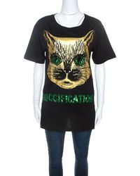 Gucci Black Cat Print Sequin Detail Fication T-shirt