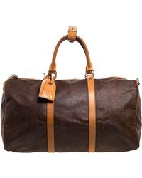 Etro Paisley Coated Canvas And Leather Weekender Duffel Bag - Brown