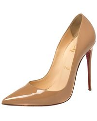 Christian Louboutin Beige Patent Leather So Kate Pumps - Natural