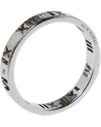 Tiffany & Co. Atlas Roman Numeral Motif Diamond 18k White Gold Pierced Ring
