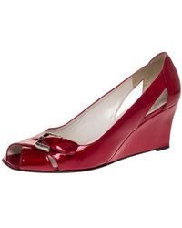 Stuart Weitzman Red Patent Leather Buckle Detail Open Toe Wedge Pumps