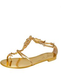 Giuseppe Zanotti Metallic Gold Leather Scorpion Crystal Embellished Flat Sandals