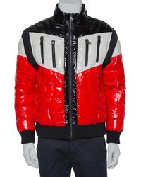 Balmain Tricolor Synthetic Quilted Hooded Puffer Jacket - Red