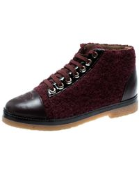 Chanel Burgundy Tweed And Leather Cc Cap Toe High Top Trainers Size 37 - Multicolour