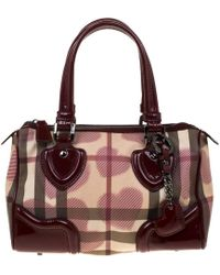 Burberry - House Check Pvc & Patent Leather Hearts Boston Bag - Lyst