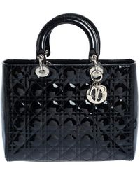 Dior - Black Cannage Patent Leather Large Lady Tote - Lyst