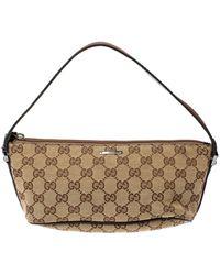 Gucci Beige/dark Brown GG Canvas Boat Pochette Bag - Natural