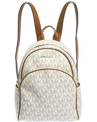 Michael Kors Michael Cream/tan Coated Canvas And Leather Large Abbey Backpack - Natural